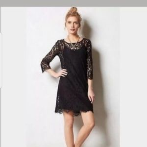 ANTHROPOLOGIE HD in Paris Black Lace 3/4 Sleeve M